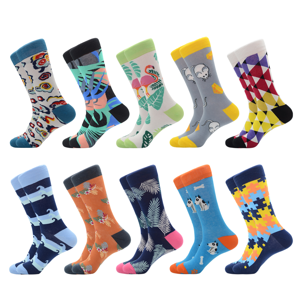 Jhouson 1 Pair Colorful Party Socks Men's Newly Cartoon Cloud Dragon Fruit Puzzle Pattern Soft Breathable Casual Funny Socks