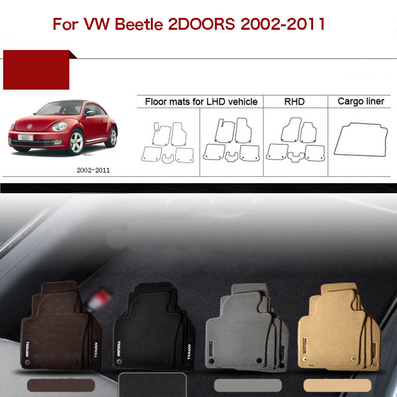 5pcs Custom Made 1/2 Thickness Solid Nylon Interior Odorless Floor Carpet Mats Cover Fitted For VW Beetle 2002 11
