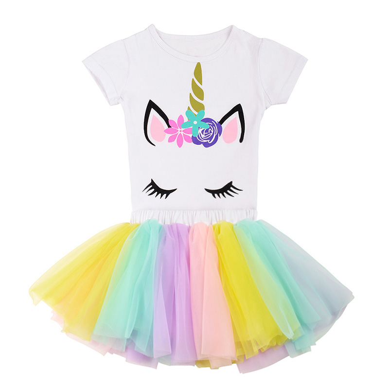 2019 New Summer Girls Clothing Sets 2pcs Casual Fashion Chiffon Soft Skirt & Unicorn T Shirt Ball Gown Baby Girls Clothes 1-8T2019 New Summer Girls Clothing Sets 2pcs Casual Fashion Chiffon Soft Skirt & Unicorn T Shirt Ball Gown Baby Girls Clothes 1-8T