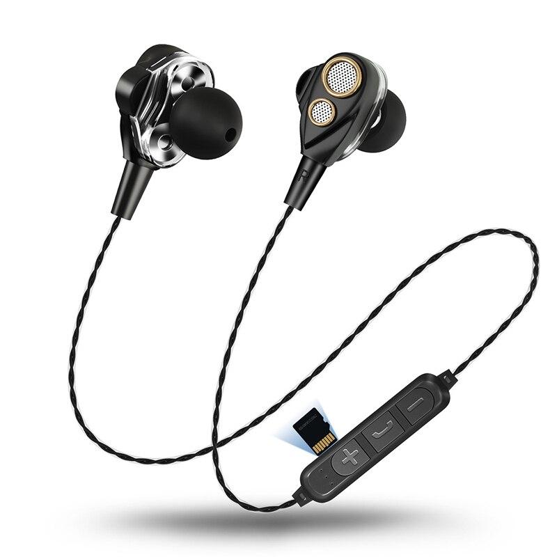 Cuatro oradores 6D sonido envolvente auriculares Bluetooth con tarjeta TF jugar estéreo bajo deporte auricular inalámbrico para teléfono móvil