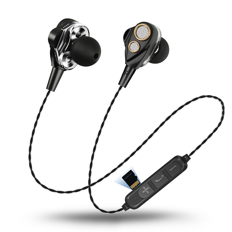 Wireless Bluetooth Earphones Headphone With Micro Card Play Stereo Bass Sport Four Speakers For Mobile Phone Surround Sound