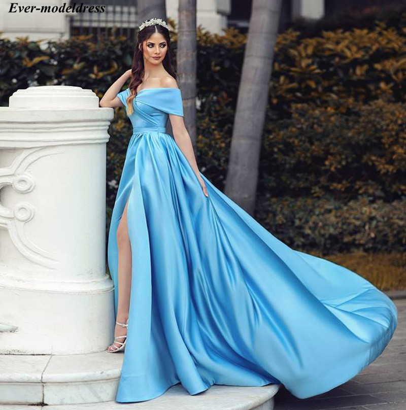 2019 Blue   Prom     Dresses   Long Off Shoulder Side Split Zipper Back Plus Size Formal Party Gowns Vestidos De Festa Cheap