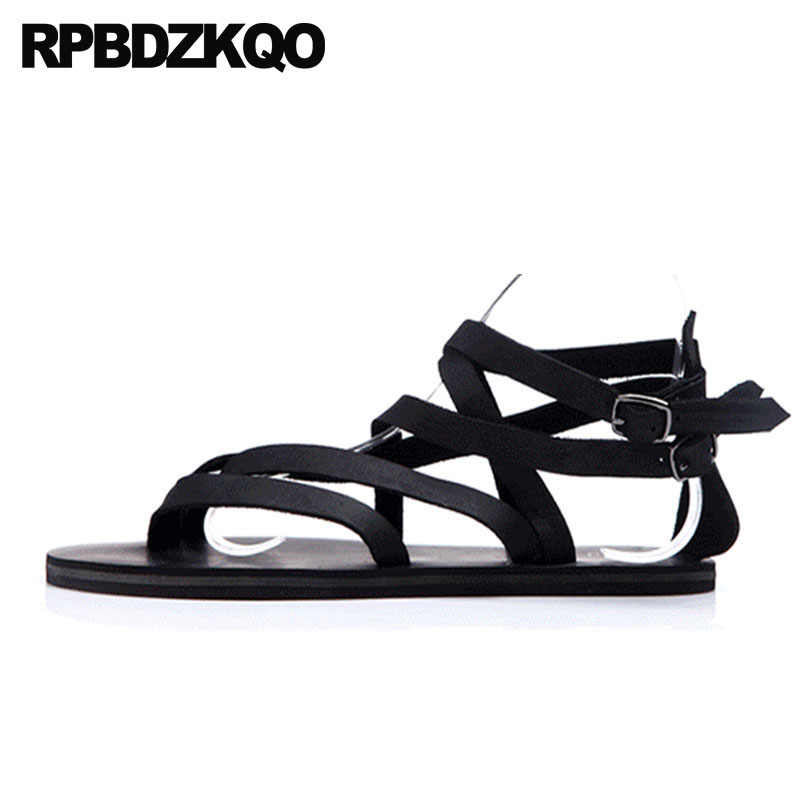71e9b718a525 Casual Designer Large Size 45 Shoes Leather 2018 Fashion Outdoor Roman Plus  Beach Black Men Gladiator