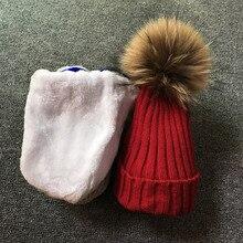 New hat  Kids Boys Girls Warm Fleece Liner Beanie Hats set Winter Hat For Children Baby 100% Fur Pompom Skullies Beanies