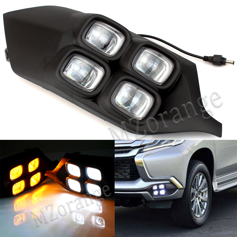 4Eyes LED Daytime Running Light For Mitsubishi Pajero Sport 2016 2017 DRL Car styling Daylight With Yellow Signal Light Fog Lamp