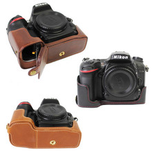 Pu Leather Half Camera case For Nikon D7200 D7100 D7000 Bottom Video Bag Cover Open battery directly