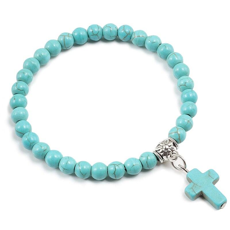 Couples Distance White Black Beaded Bracelet Classic Natural Stone Turquoises Beads Elasticity Bracelets Men Women Cross Jewelry
