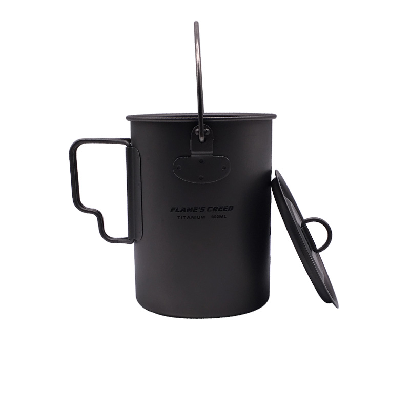 900ml Titanium Pot Titanium Water Mug Cup With Lid And Foldable Handle Outdoor Camping Pot Cooking Pots Picnic Hang Pot