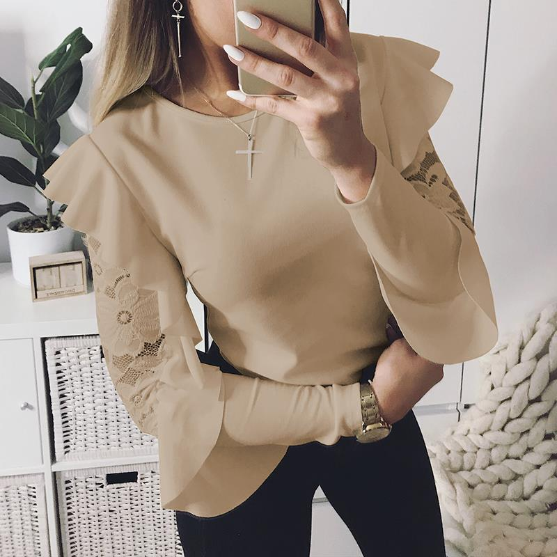 Lace Patchwork   Blouse   Elegant Work Ruffle Blusas Mujer Long Sleeve Women Tops Casual Ladies   Shirt   WS5317X