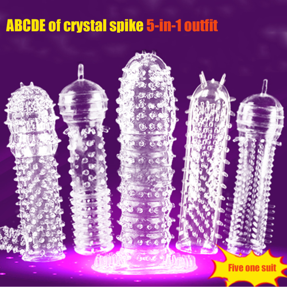 5Pcs Male Dildo Reusable Condoms Time Male Penis Extension Sleeves Sperm Lock Cock Ring Adult Sex Toys For Men Delay Ejaculation