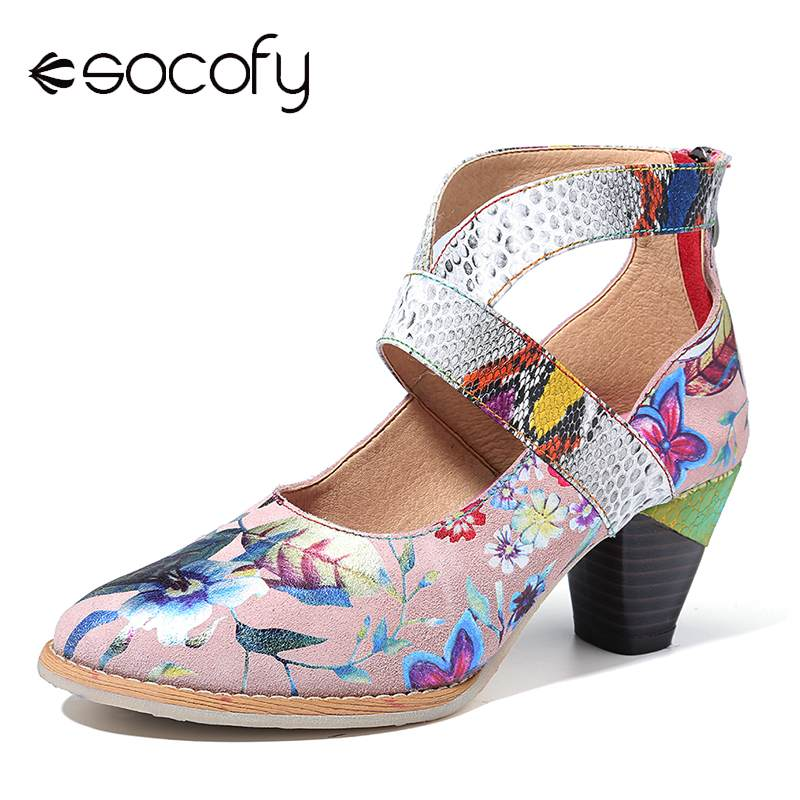 SOCOFY Snakeskin Sandals Splicing Pumps Flowers-Pattern Comfortable Genuine-Leather Woman
