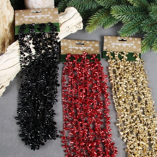 luxury wedding christmas party tree decor 5m acrylic crystal black red gold beads hanging chain garland