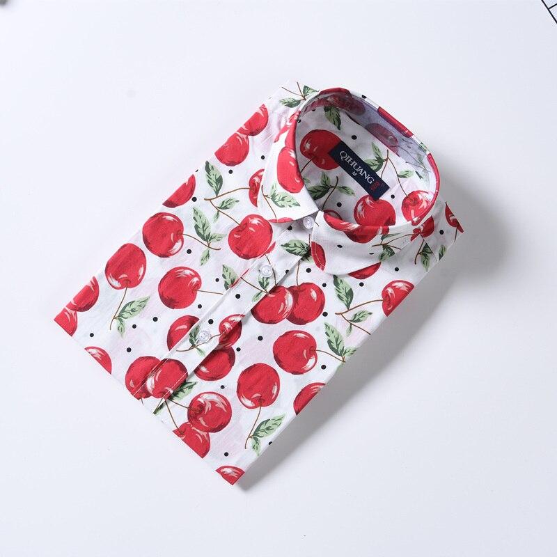 QIHUANG vrouwen vrolijke bloemen bedrukte blouse shirt met korte mouw - Dameskleding - Foto 5