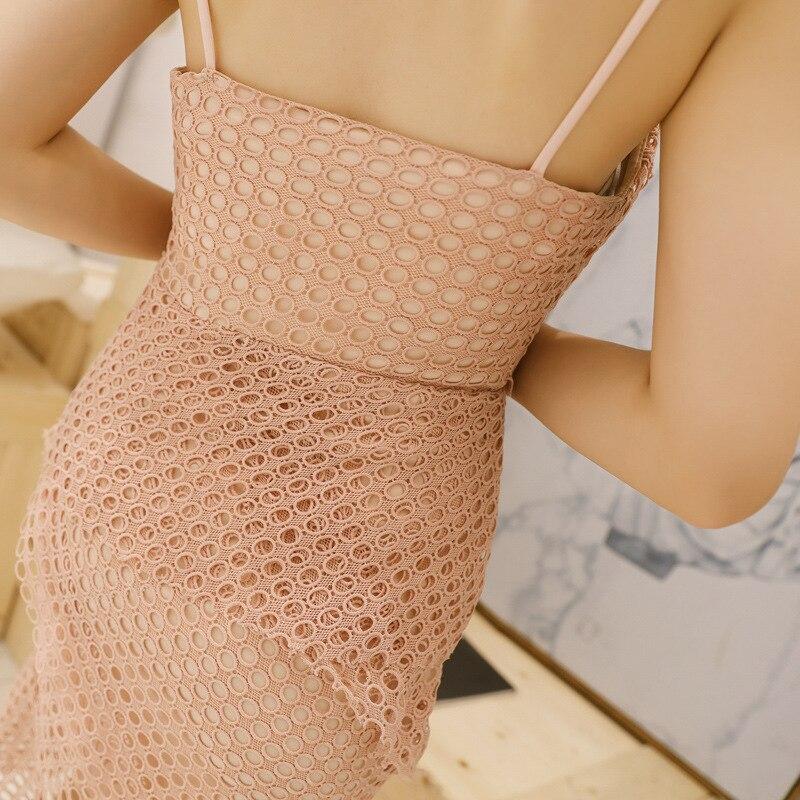 Dames De Strap Robe Partie Asymétrique Bureau V D'été Rose Spaghetti Femmes Robes Neck Évider Sexy Bandage O7BI6
