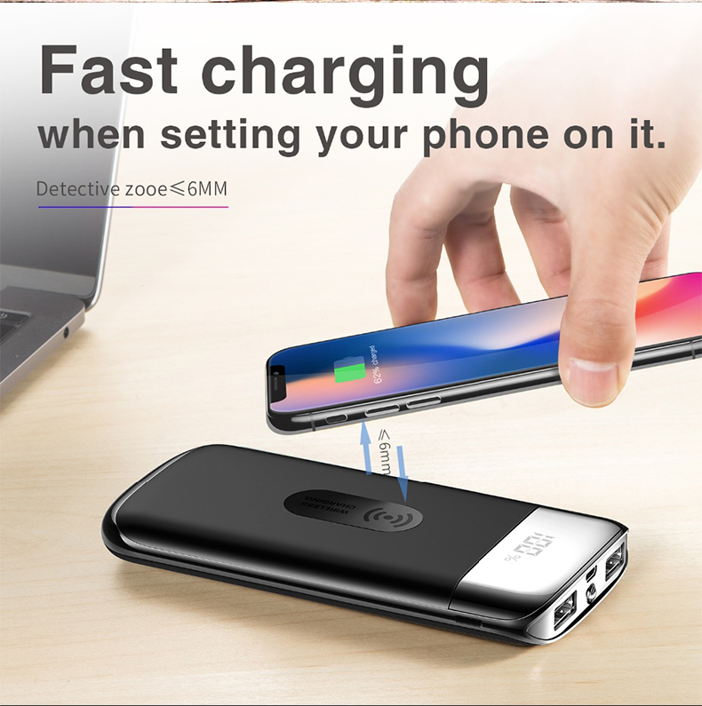 30000mah Power Bank External Battery Bank Built-in Wireless Charger Powerbank Portable QI Wireless Charger for iPhone XS Max 8 2