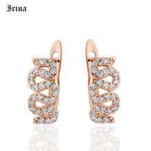 Irina Copper Gold Color Stud Earrings For Women Bridal Wedding Jewelry Cubic Zirconia Brincos Korea Innovative Ears Bijoux