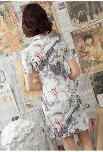 Image 2 - שנג קוקו לבן דרקון Cheongsam שמלות מודרני צעיר סגנון שונה גרסה Qipao יומי קצר שנחאי מזרחי סיני שמלה