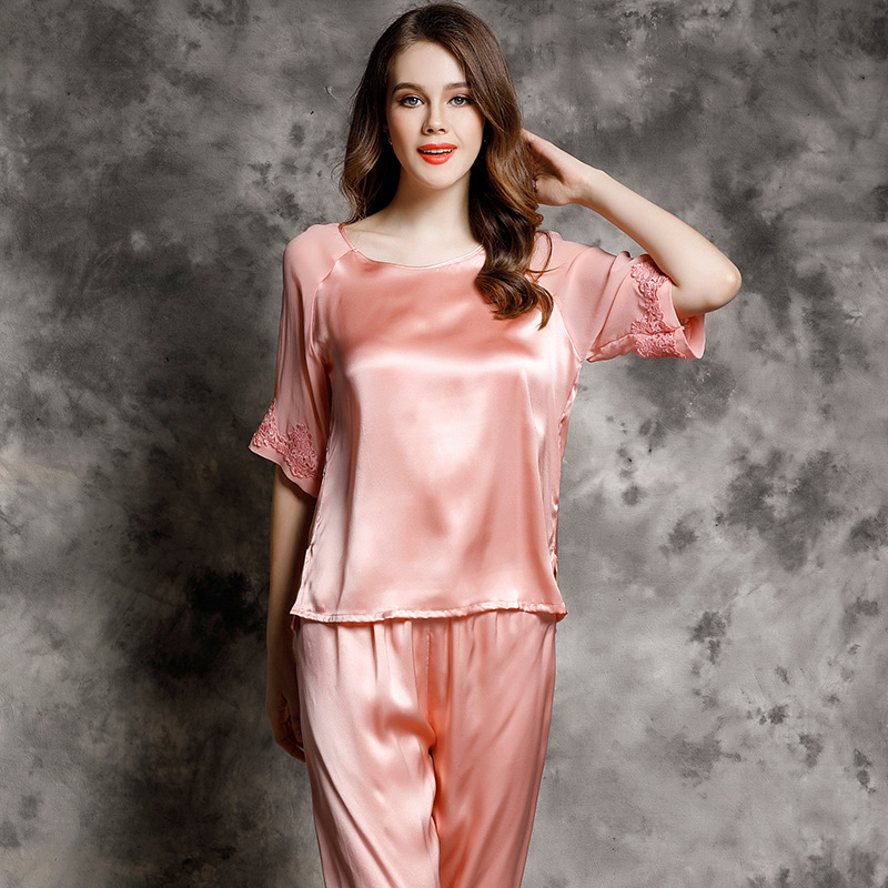 T77142 Women Spring and summer Pajamas Ladies 100%Silk Home-wear Suit Pajama Sets image
