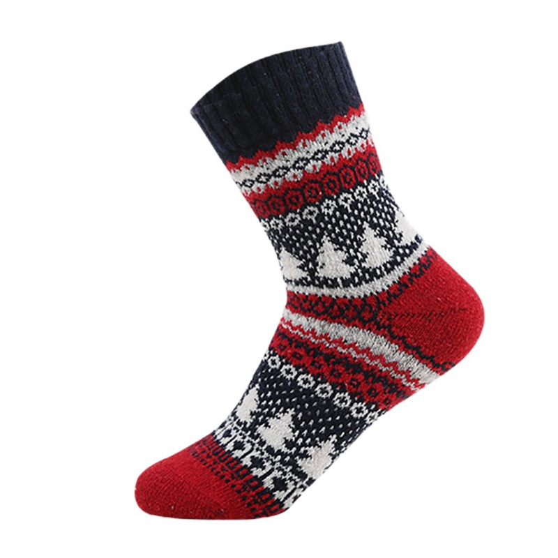 1pair Hot Sale 2018 Newest Women Men Socks Retro National Style Christmas Tree Printed Woolen Soft Christmas Socks