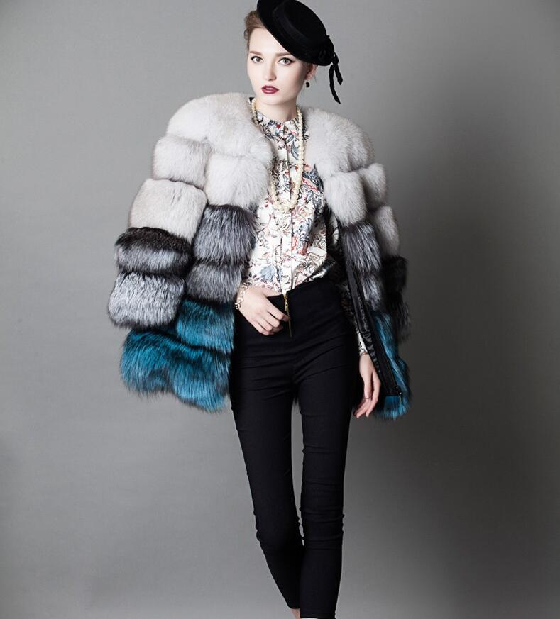 Européenne Manchester Style De Marque De Mode Réel fourrure de renard manteaux Incroyable galerie Femmes s trois couleurs teinte vraie Fourrure vestes