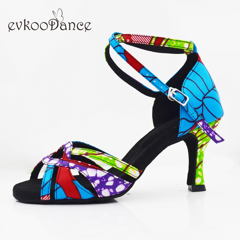Evkoodance Zapatos De Baile Blue African Style Satin Dance Shoes 7cm Latin Ballroom Salsa Dancing Shoes for Women and Girls