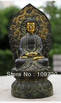 free shipping 00340 Tibet Rare old 100% Pure bronze Buddhism Buddha Amitabha Statue tibet buddhism copper bronze green tara guan yin boddhisattva buddha god statue
