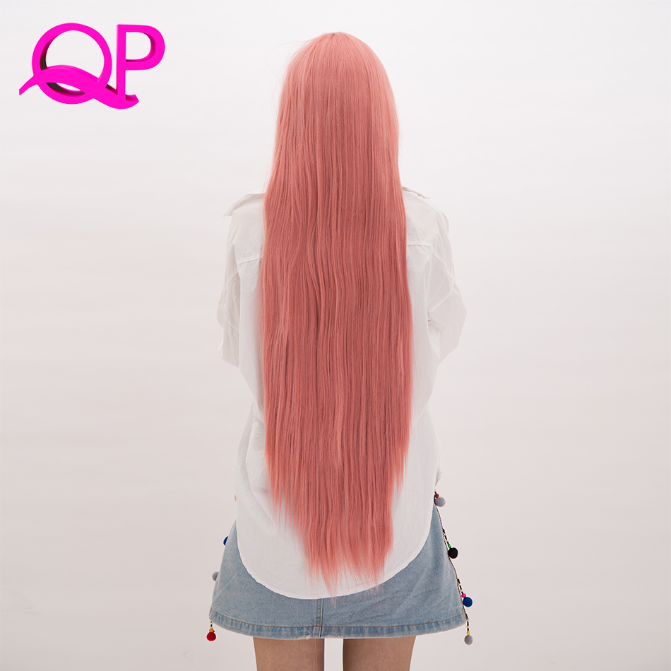 Qp Hair Women's Long  Silky Straight Synthetic Hair Wig Cosplay High Temperature Fiber Wigs