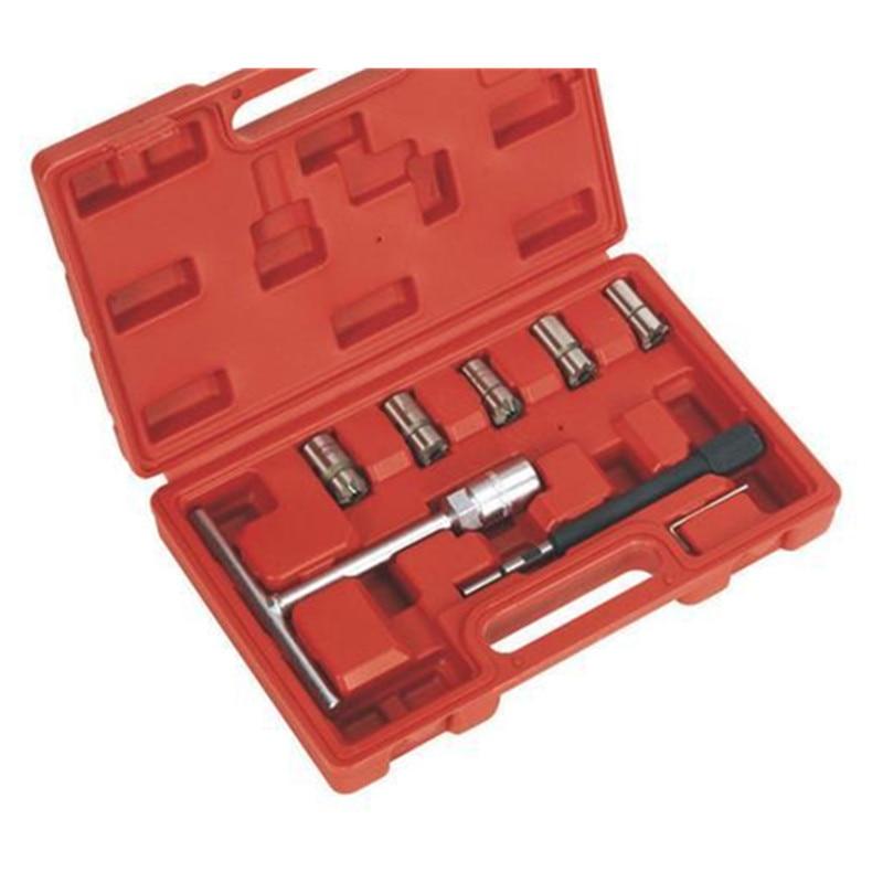 Helder 7 Stks/set Diesel Injector Nozzle Seat Cutter Cleaner Tool Set Uk Professionele Carbon Remover Platte Schuine Ruimer T Handvat Set
