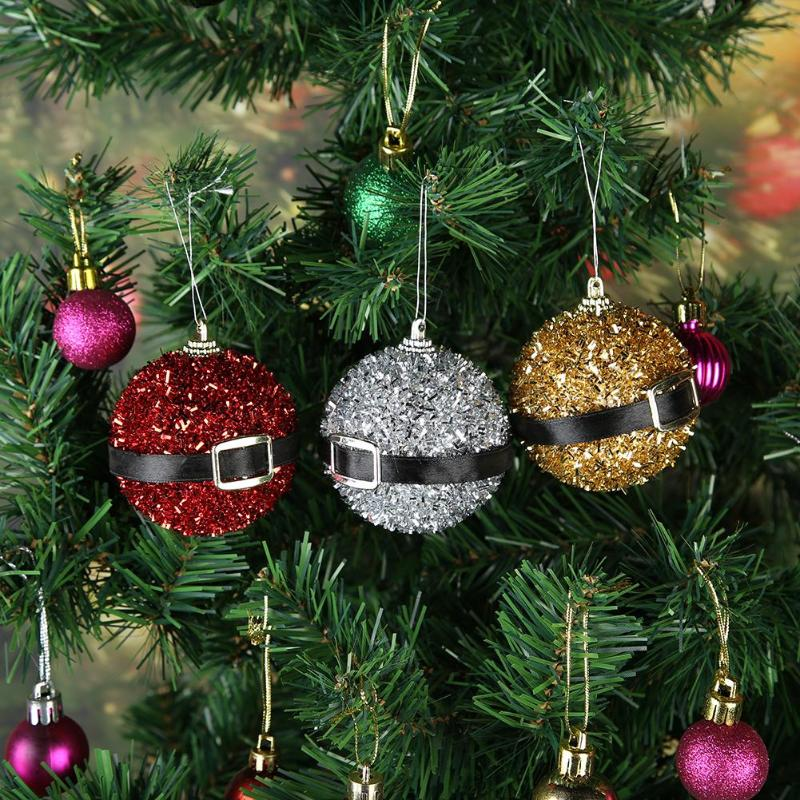 Christmas Ball Ribbon Belt Buckle Glitter Christmas Tree Decor Ball Xmas Party Hanging Ball Ornament for Home Christmas Decor