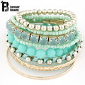 Designer Bohemian Candy Color Multilayer Beads Bracelet Bangles jewelry for women Spring 2017 gift pulseras mujer wrist band