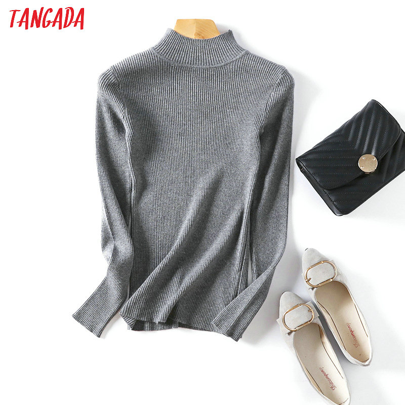 Tangada  Winter Women Turtleneck Jumper Sweater Long Sleeve Pullover Stretch O Neck Female Casual Soft Knitted Top Femme AQX04