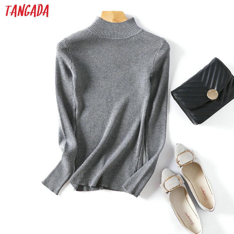 Tangada invierno mujer jersey de cuello alto suéter de manga larga Pullover Stretch cuello redondo Mujer casual suave, de punto top Femme AQX04