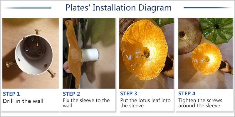 pendurado placas mao flor de vidro soprado arte da parede placas 03