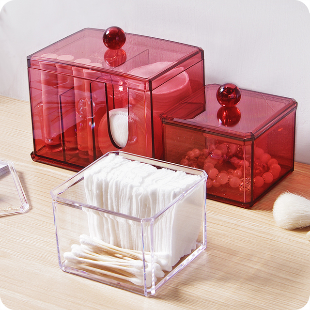 Acrylic Makeup Organizer With Lid Clear Cotton Swabs Stick Storage Box  Cosmetic Containers Plastic Box Case