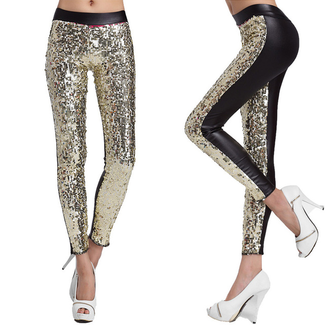 Trendy New Spring Autumn Women Leggings Sequins Slim Sexy Leggings Faux Leather Patchwork Sexy Pants Ladies Trousers 6 Colors