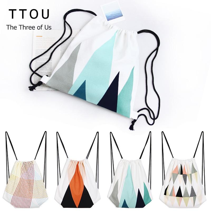 TTOU Drawstring Backpack Girls Escolar Backpack 3D Printing Travel Softback  Women Mochila Feminina Geometric Beach Bag