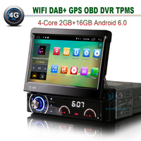 4G Android 6.0 Simple Din Autoradio 2 GB RAM Voiture Radio GPS Navigaiton Bluetooth OBD DVR DTV-IN TPMS De Voiture Au Tableau de Bord Stéréo DAB USB SD