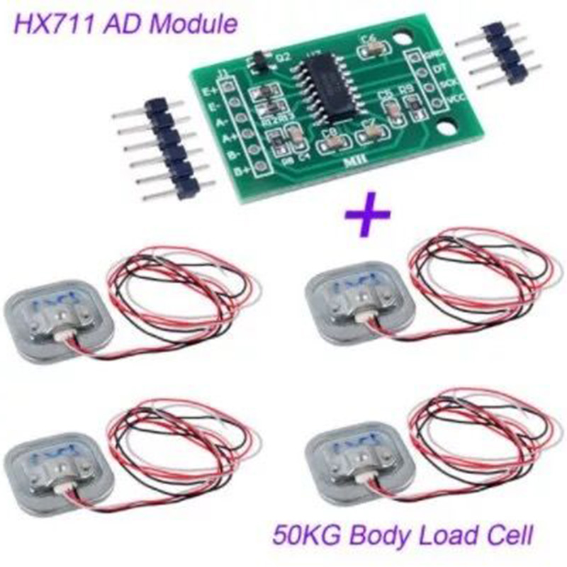 4pcs Human Body Scale Load Cell Resistance Strain Weight Sensor Pressure Sensors + HX711 AD Weighing Module 50KG Measuring Tool