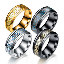 купить Black Gold Dragon Tungsten Carbide Titanium Steel Ring Wedding Rings Stainless Blue for Men Women Jewelry Wedding Ring дешево