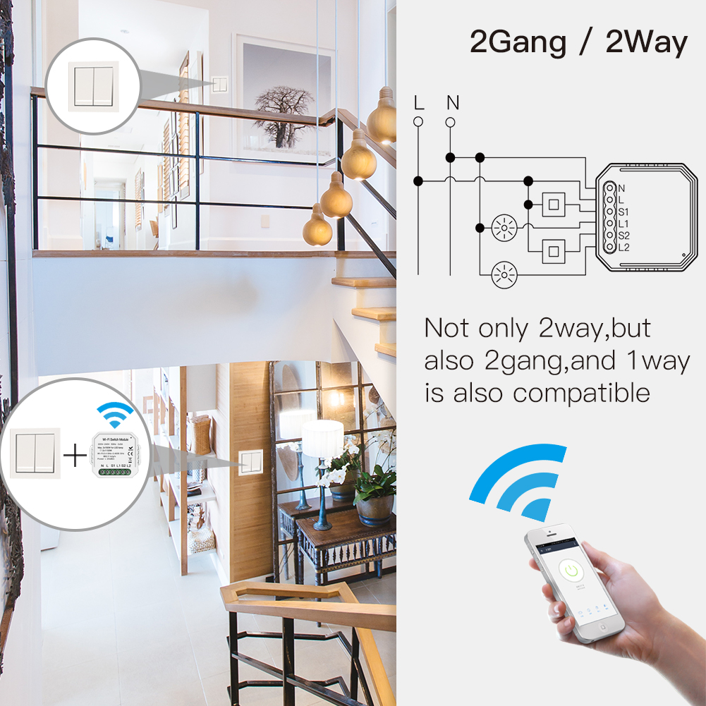 Image 2 - 2 Gang 2 way WiFi Smart Light Switch Hidden Diy Module Smart Life/Tuya APP Remote Control Works with Alexa Echo Google Home-in Switches from Lights & Lighting