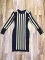 Оптовая 2017 Новый стиль платье Черный и золотой Длинные рукава Мода знаменитости мини коктейль бинты платье (H1416)