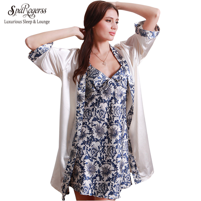 Sleep Robe De Femme 2017 Top Fashion Summer Sleepwear Robe Femme Satin Home Suit Night Shirt Pajamas Suit Set Robe Nightgown Set