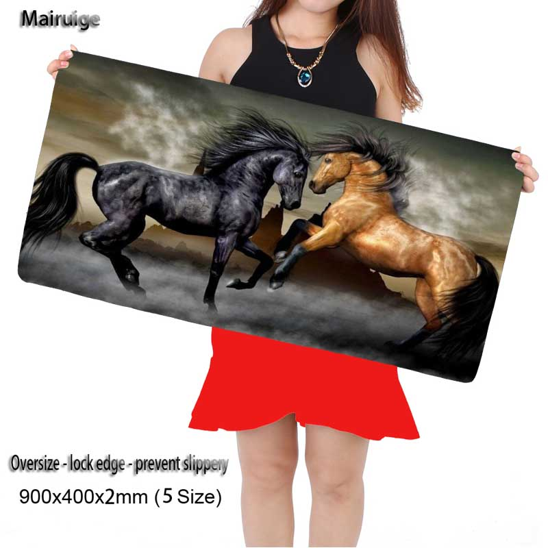 Mairuige Black and Brown Horses Free Shipping Large Game 900*400mm DIY Picture with Edge Locking Mouse Mat for CSGO Dota LOL
