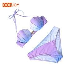 Купить с кэшбэком Classic Mermaid Shell Bra Bikini Women Swimsuit Gradient Color Bathing Suit S-2XL Low Waist Swimwear Girl Halter Push Up Bikini