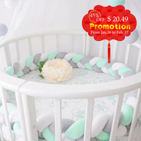 1.5M Lenght Baby Bed Bumper Knot Design Newborn Crib Pad Protection Infant Safety Crashproof Cot Room Decoration Kid Photography