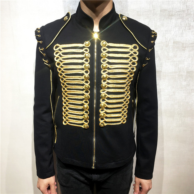 Fashion Gold Men Blazers Jacket Royal Gown Slim Fit Blazer Suits Coat Black European Style Dj Male Singer Host Stage Costume