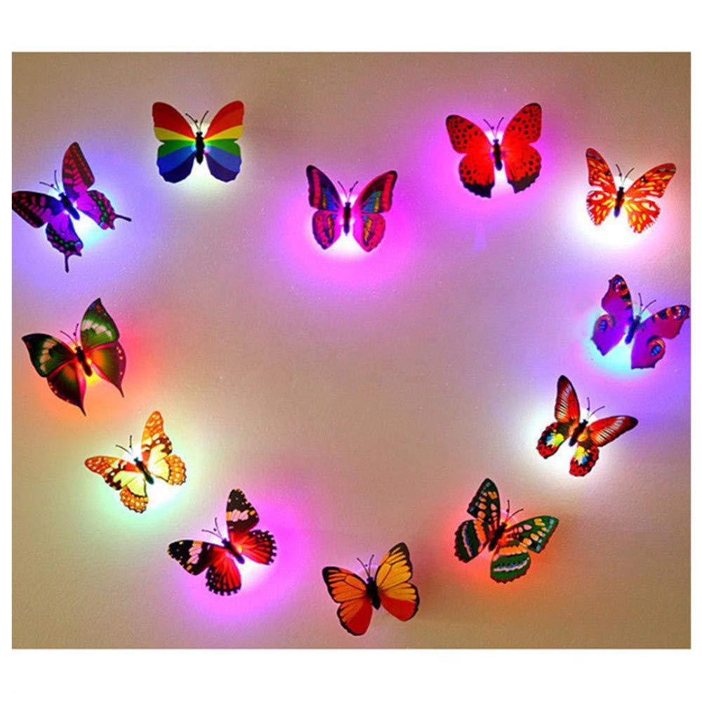 JXSFLYE 5 PCS Night Light Lamp With Suction Pad Colorful Changing Butterfly LED Home Room Party Desk Wall Decor
