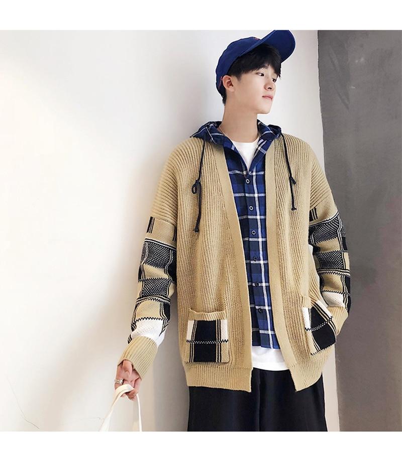 Korean Oversized Sweater Cardigan Men Plaid (10)