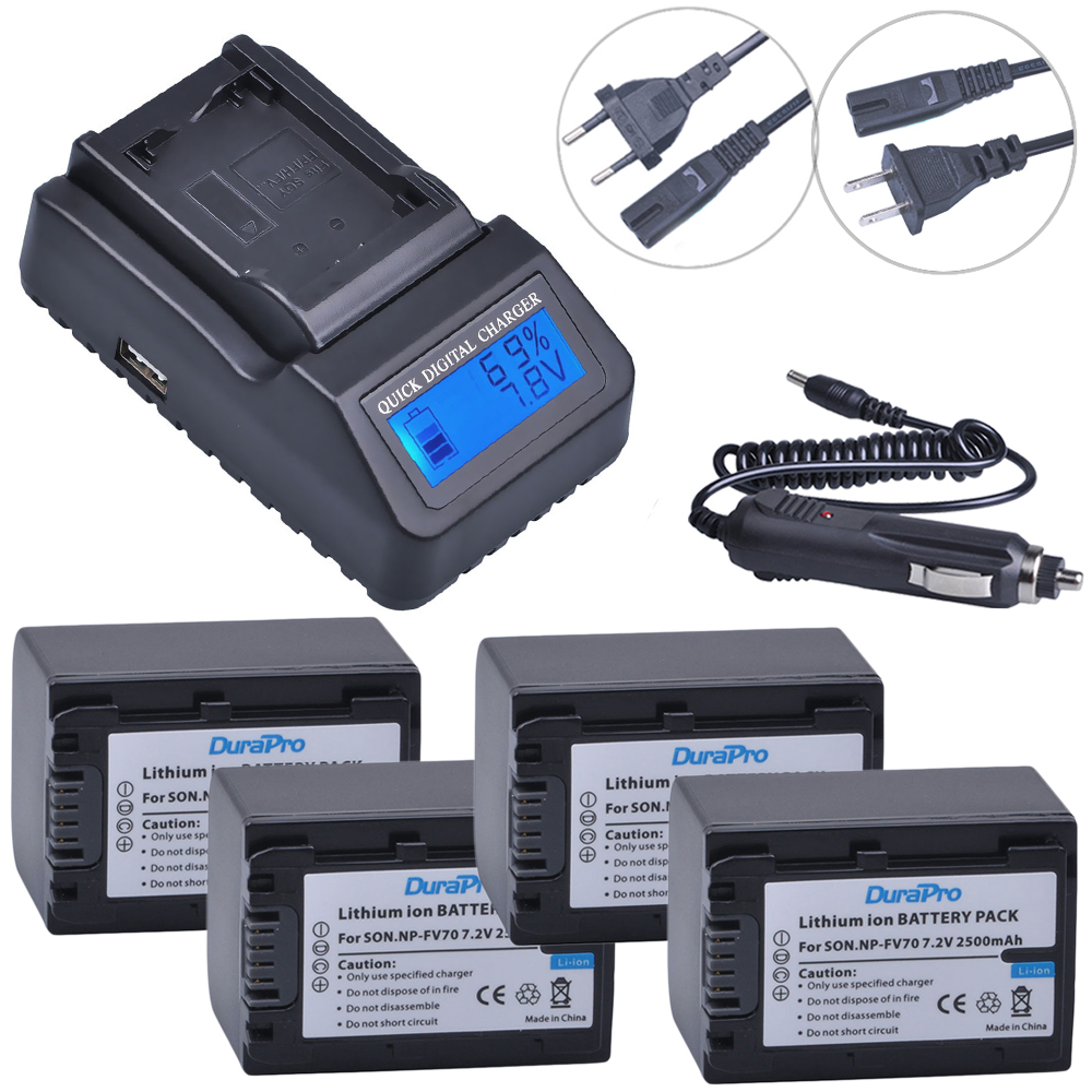 4pc 2500mAh NP-FV70 NP FV70 NPFV70 Li-ionbattery & LCD Quick Charger for Sony NP-FV50 FV30 HDR-CX230 HDR-CX150E HDR-CX170 CX300 аккумуляторы для цифровых фото и видео камер sony np fv50 hdr td10 dcr sr20e fh fp