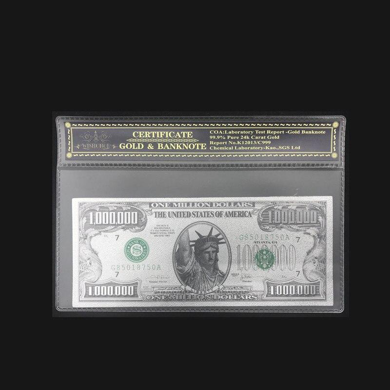 Notas americanas da cor por atacado uma nota de milhão de dólares em ouro 24k chapeado com quadro plástico coa para presentes